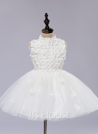 A-Line/Princess Knee-length Flower Girl Dress - Organza/Satin Sleeveless Scoop Neck With Flower(s)