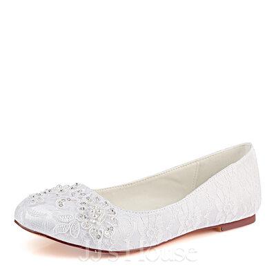 المرأة ربط الحذاء حرير مثل الساتان كعب مسطح تو مغلقة الشقق مع البوليمر كلاي خياطة الدانتيل لؤلؤة