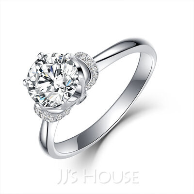 Solitaire Round Cut 925 Silver Promise Rings