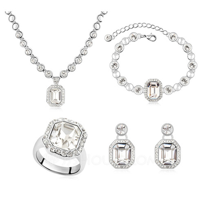 Elegant Crystal/Platinum Plated Jewelry Sets