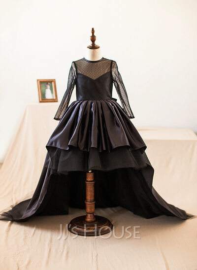 A-Line/Princess Asymmetrical Flower Girl Dress - Taffeta/Tulle Long Sleeves Scoop Neck With Bow(s)
