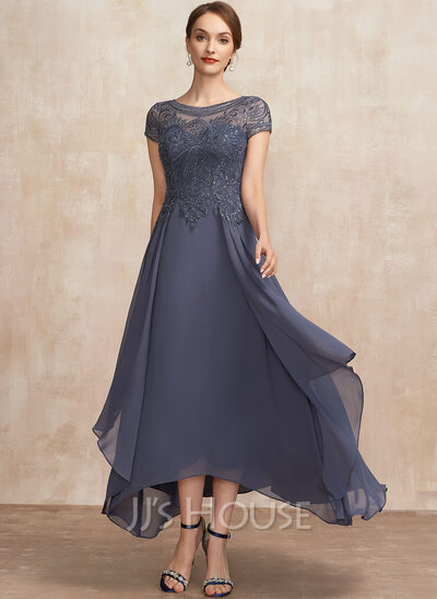 A-Line Scoop Neck Asymmetrical Chiffon Lace Mother of the Bride Dress With Sequins