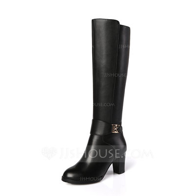 Women's Real Leather Chunky Heel Closed Toe Knee High Boots shoes