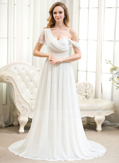 A-Line/Princess One-Shoulder Court Train Chiffon Lace Wedding Dress With Ruffle