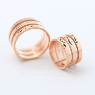 Personalized Ladies' Stylish Gold Plated With Round Engraved Rings For Bridesmaid/For Friends/For Couple