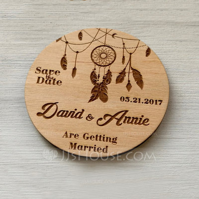 Personalized Wooden Save-the-date Magnets (Set of 10)