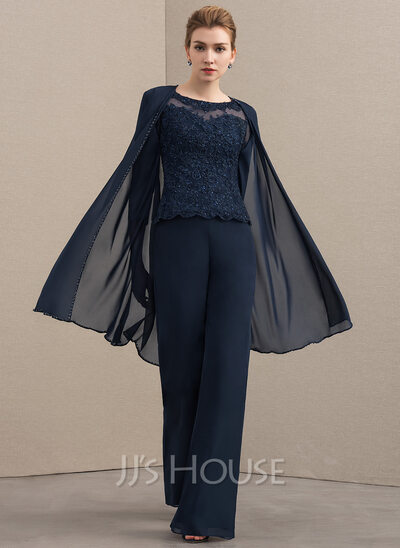 Scoop Neck Floor-Length Chiffon Lace Mother of the Bride Dress With Beading