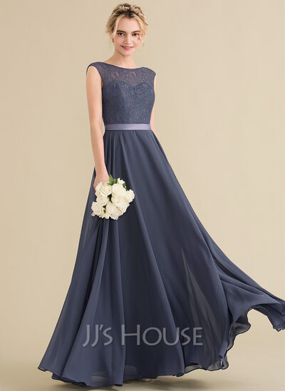 ea4df994d1e A-Line Princess Scoop Neck Floor-Length Chiffon Lace Bridesmaid Dress With  Bow
