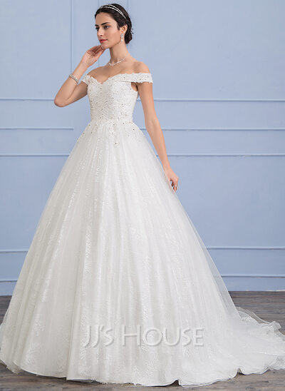 Ball-Gown Off-the-Shoulder Sweep Train Tulle Wedding Dress With ...