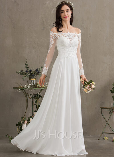 A-Line Off-the-Shoulder Floor-Length Chiffon Wedding Dress