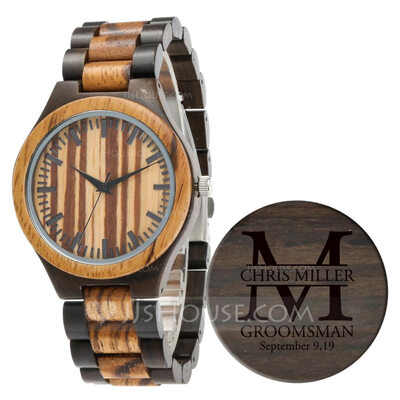 Personalized Mens Custom Engraved Ebony Watches