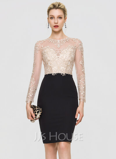 Sheath/Column Scoop Neck Knee-Length Stretch Crepe Cocktail Dress With Sequins