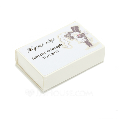Personalized Bride And Groom Hard Card Paper Matchboxes (Set of 12)
