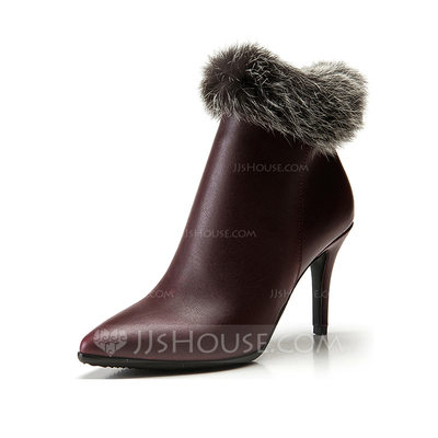 Women's Leatherette Stiletto Heel Platform Ankle Boots With Fur shoes