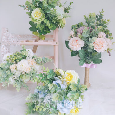 Refined Hand-tied Emulational Berries/Imitation Pearl/Silk Flower/Linen Rope/Artificial Flower Bridal Bouquets/Bridesmaid Bouquets (Sold in a single piece) - Bridal Bouquets/Bridesmaid Bouquets