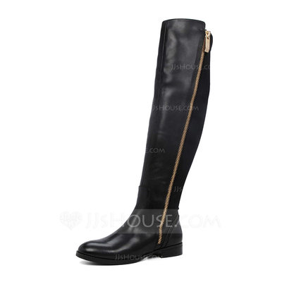 Women's Leatherette Flat Heel Boots Mid-Calf Boots shoes