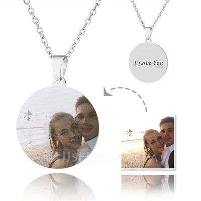 Custom Silver Round Cut Color Printing Photo Necklace -