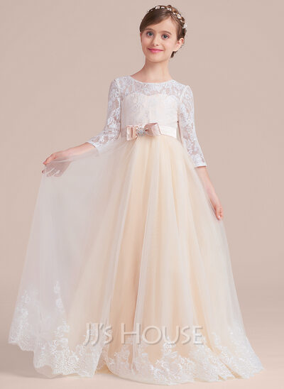 Ball Gown Floor-length Flower Girl Dress - Tulle/Charmeuse/Lace 3/4 Sleeves Scoop Neck With Sash/Beading/Bow(s)