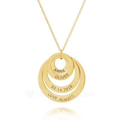 Christmas Gifts For Her - Custom 18k Gold Plated Four Engraved Necklace Family Necklaces Circle Necklace With Kids Names