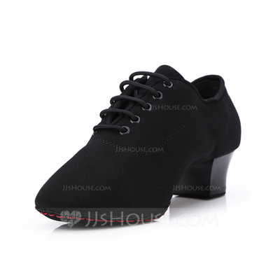 Women's Suede Heels Pumps Practice With Lace-up Dance Shoes