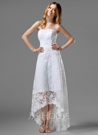 A-Line Strapless Asymmetrical Lace Wedding Dress With Beading
