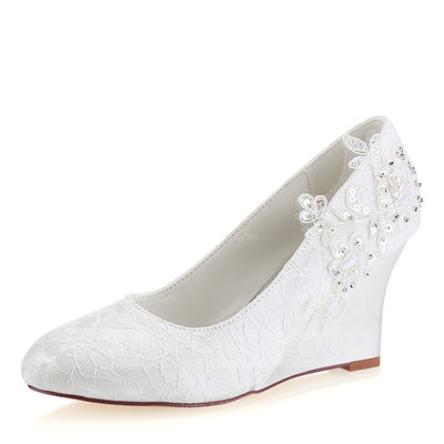 Women's Lace Silk Like Satin Wedge Heel Closed Toe Wedges With Stitching Lace Pearl