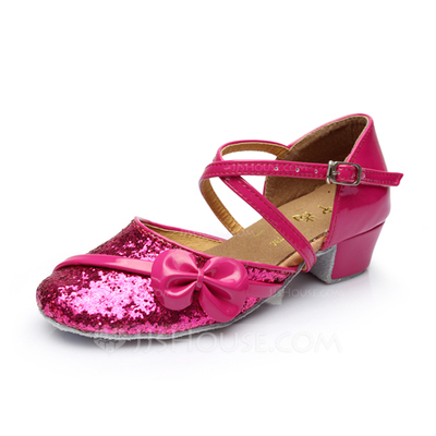 Kids' Sparkling Glitter Heels Ballroom With Ankle Strap Dance Shoes