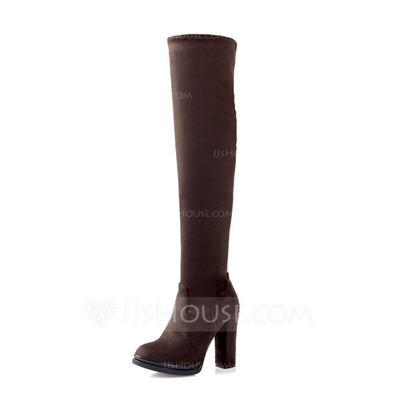 Suede Chunky Heel Knee High Boots shoes