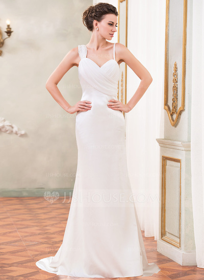 Trumpet/Mermaid Sweetheart Watteau Train Chiffon Charmeuse Wedding Dress With Ruffle Beading