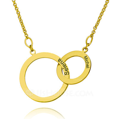 Christmas Gifts For Her - Custom 18k Gold Plated Silver Cross Circle Two Engraved Necklace Circle Necklace