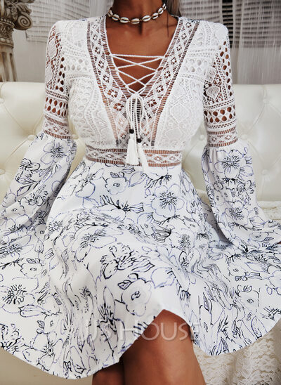 Floral Lace Print A-line V-Neck Long Sleeves Flare Sleeve Midi Casual Skater Dresses