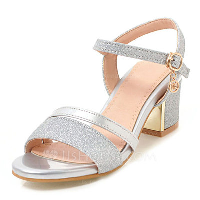 Women's Leatherette Sparkling Glitter Chunky Heel Sandals Pumps Peep Toe With Buckle shoes