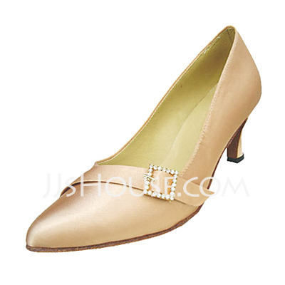 Women's Satin Heels Pumps Ballroom With Rhinestone Buckle Dance Shoes