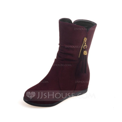 Women's Suede Wedge Heel Mid-Calf Boots With Ruched Zipper shoes