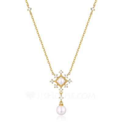 Ladies' Elegant Gold Plated Pearl Necklaces For Bride/For Bridesmaid/For Mother