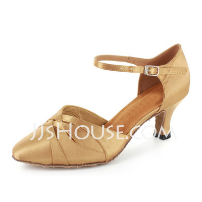 Women's Satin Heels Ballroom With Ankle Strap Dance Shoes