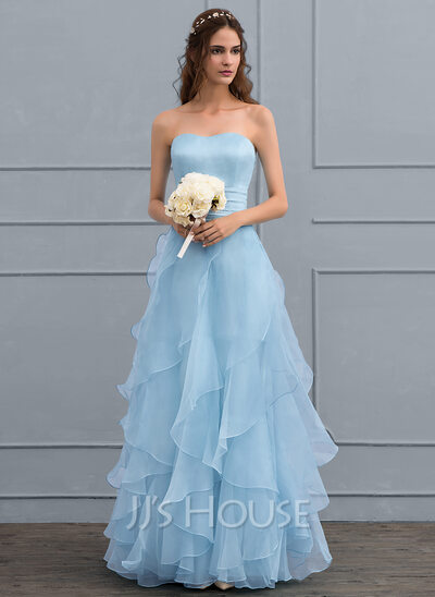 A-Line/Princess Sweetheart Floor-Length Organza Wedding Dress With ...