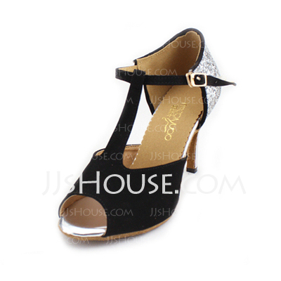Women's Sparkling Glitter Nubuck Heels Sandals Latin With T-Strap Dance Shoes