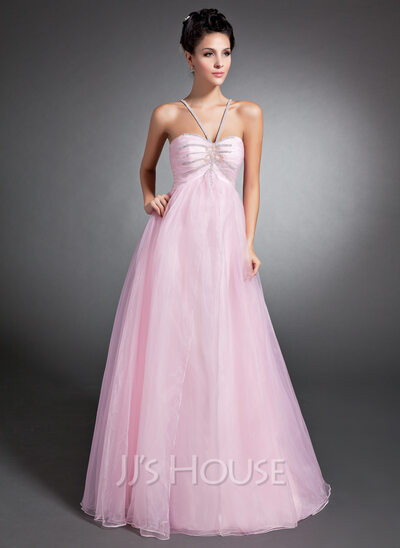 Empire V-neck Floor-Length Organza Holiday Dress With Ruffle Beading