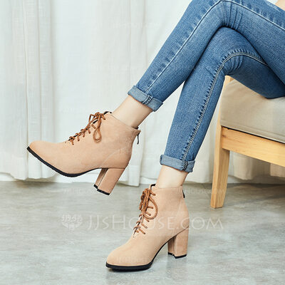 Suede Chunky Heel Flats Wedges Slippers With Lace-up shoes