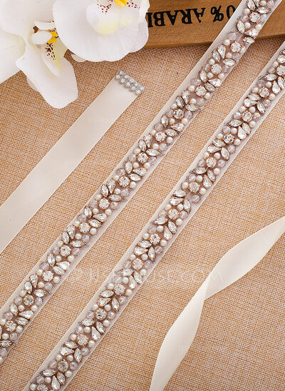 Beautiful Satin Sash With Rhinestones/Imitation Pearls
