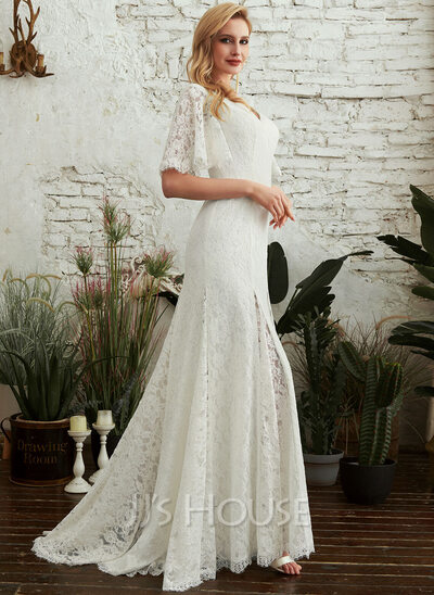 Sheath/Column V-neck Sweep Train Wedding Dress With Split Front