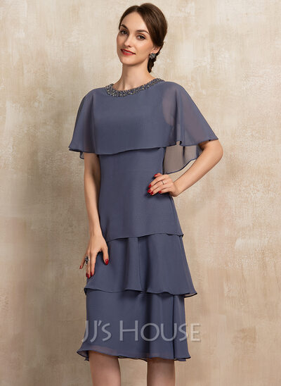 A-Line Scoop Neck Knee-Length Chiffon Mother of the Bride Dress With Beading Sequins Cascading Ruffles