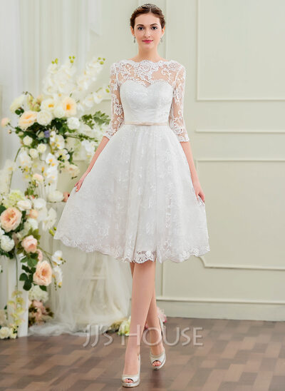 A Line Princess Scoop Neck Knee Length Lace Wedding Dress With Bow