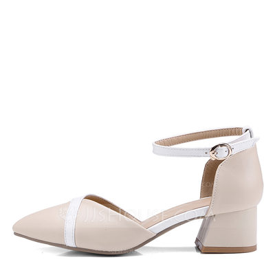 Women's Leatherette Stiletto Heel Sandals Pumps Closed Toe Mary Jane With Split Joint shoes