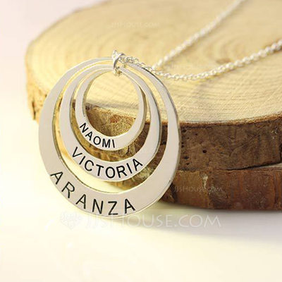 Personalized Ladies' Romantic 925 Sterling Silver With Round Engraved Necklaces For Mother/For Friends/For Couple