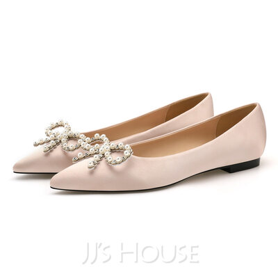 Women's Flat Heel Flats With Pearl
