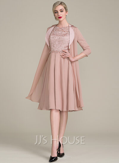 A Line Princess Scoop Neck Knee Length Chiffon Lace Mother