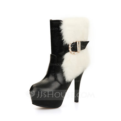 Women's Leatherette Stiletto Heel Pumps Platform Closed Toe Boots Ankle Boots With Rhinestone Buckle Fur shoes