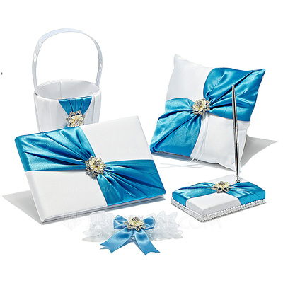 Elegant Collection Set in Satin With Rhinestones/Faux Pearl
